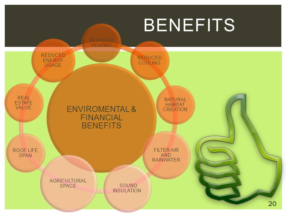 BENEFITS ENVIROMENTAL & FINANCIAL BENEFITS REDUCED HEATING