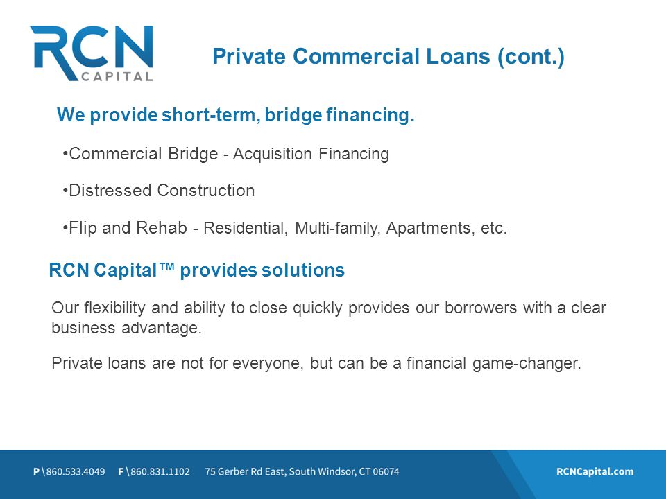 RCN Capital™ provides solutions