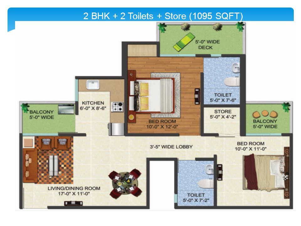 2 BHK + 2 Toilets + Store (1095 SQFT)