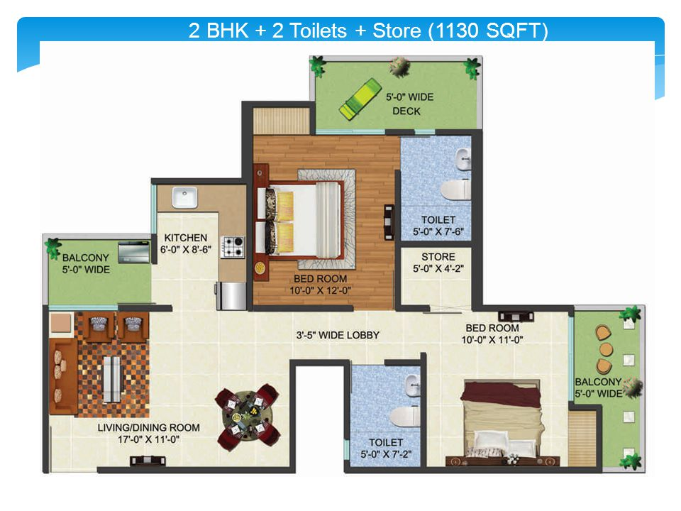 2 BHK + 2 Toilets + Store (1130 SQFT)