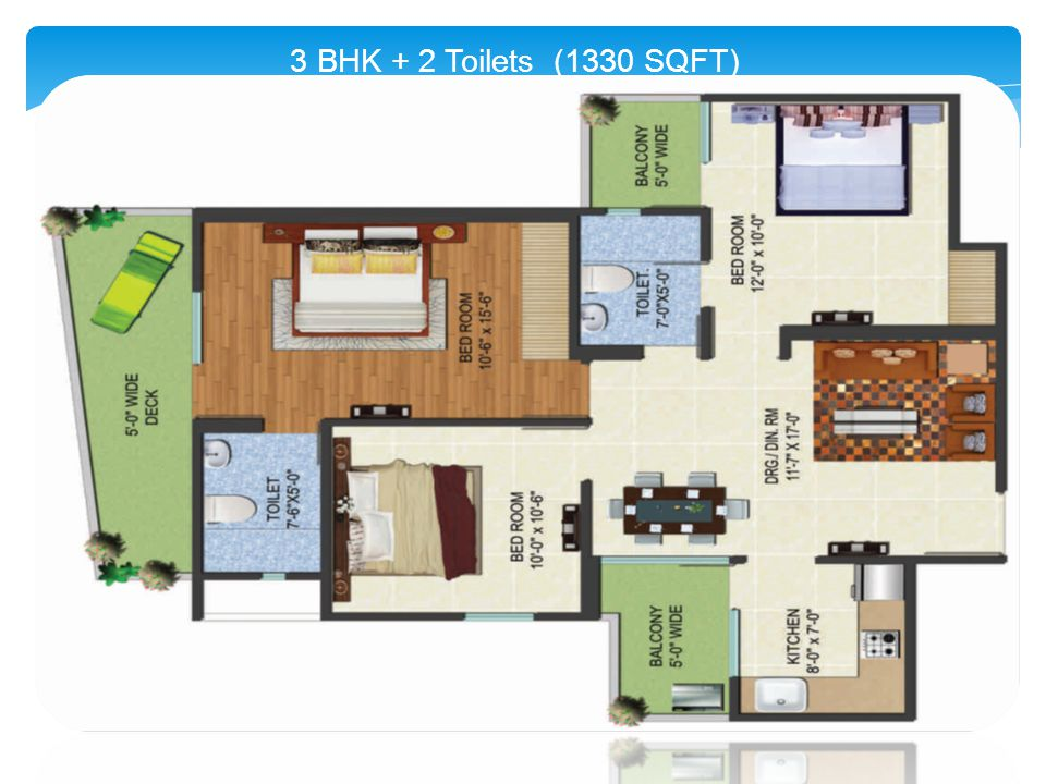 3 BHK + 2 Toilets (1330 SQFT)