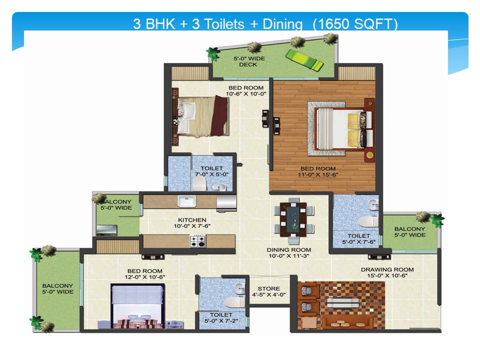 3 BHK + 3 Toilets + Dining (1650 SQFT)
