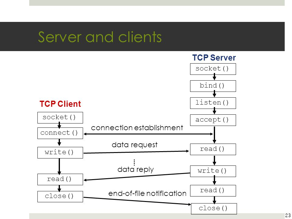 Server and clients TCP Server TCP Client socket() bind() listen()