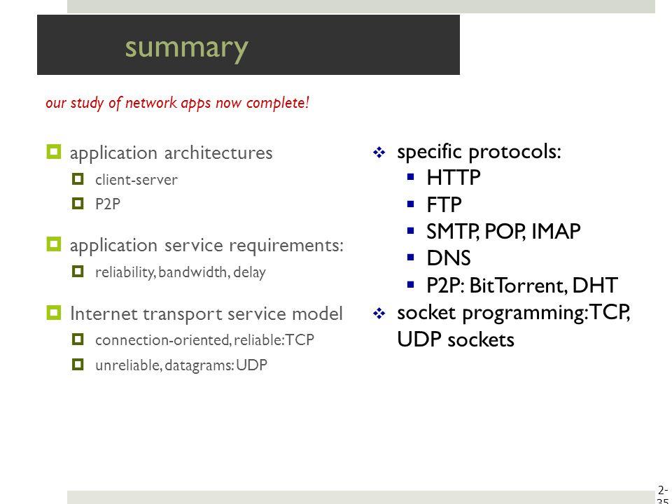 summary specific protocols: HTTP FTP SMTP, POP, IMAP DNS