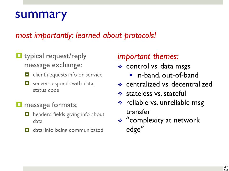 summary most importantly: learned about protocols! important themes: