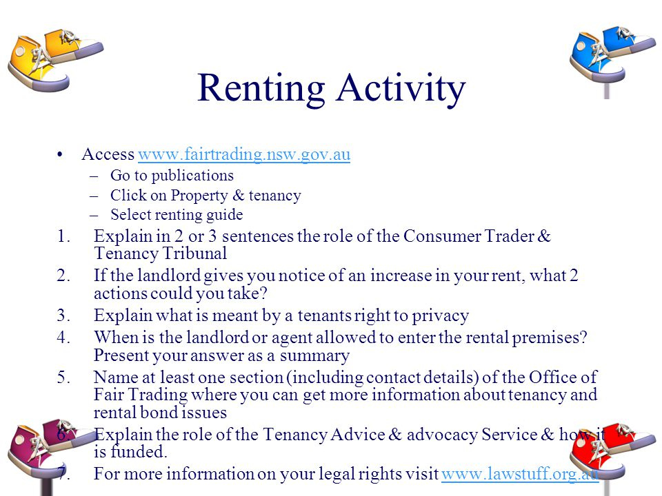 Renting Activity Access www.fairtrading.nsw.gov.au