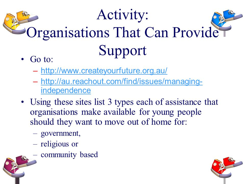 Activity: Organisations That Can Provide Support