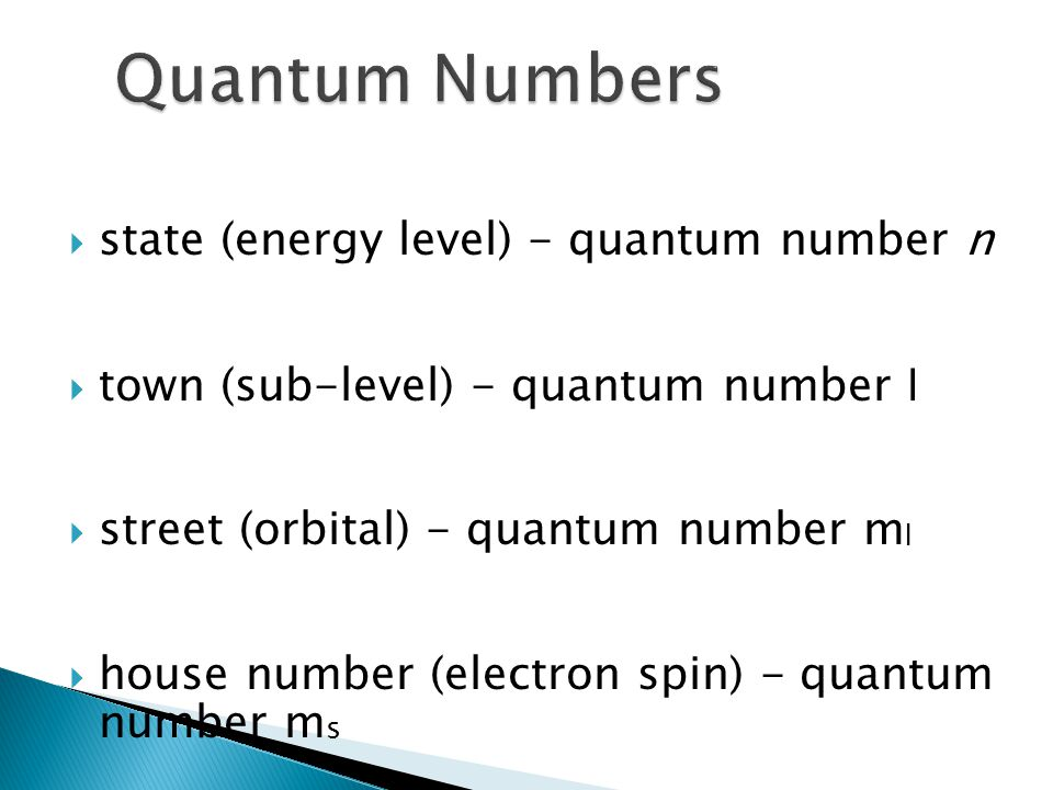Quantum Numbers state (energy level) - quantum number n