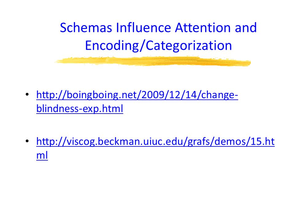 Schemas Influence Attention and Encoding/Categorization