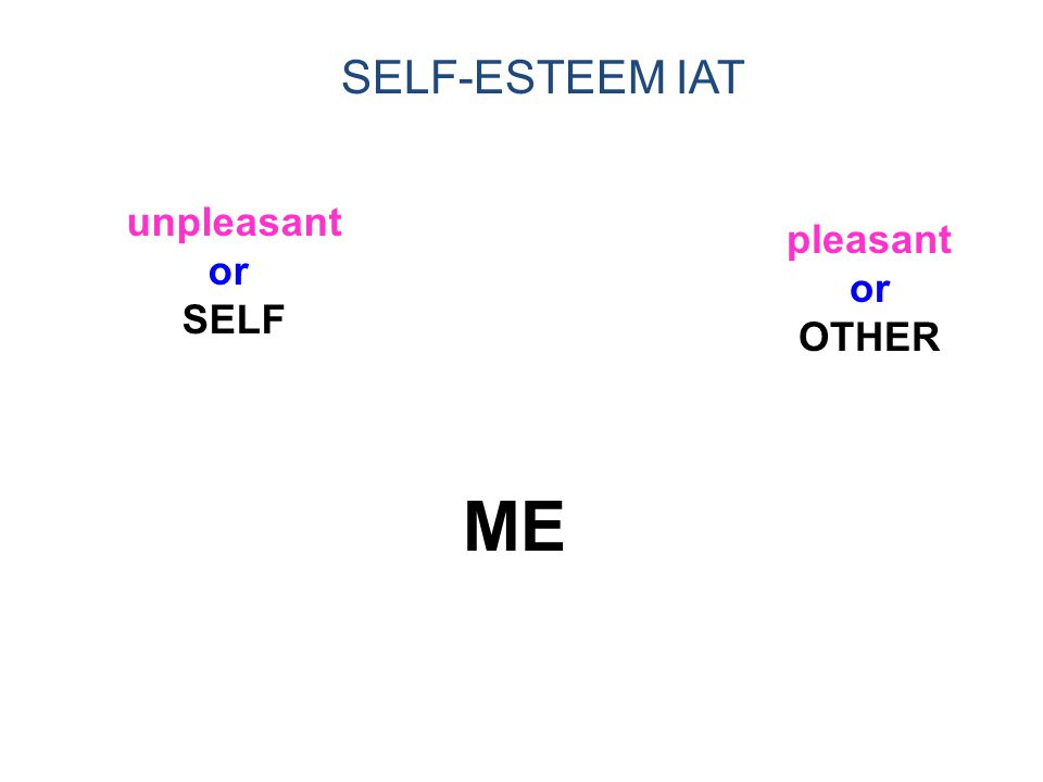 1/14/02 SELF-ESTEEM IAT unpleasant or SELF pleasant or OTHER ME 34