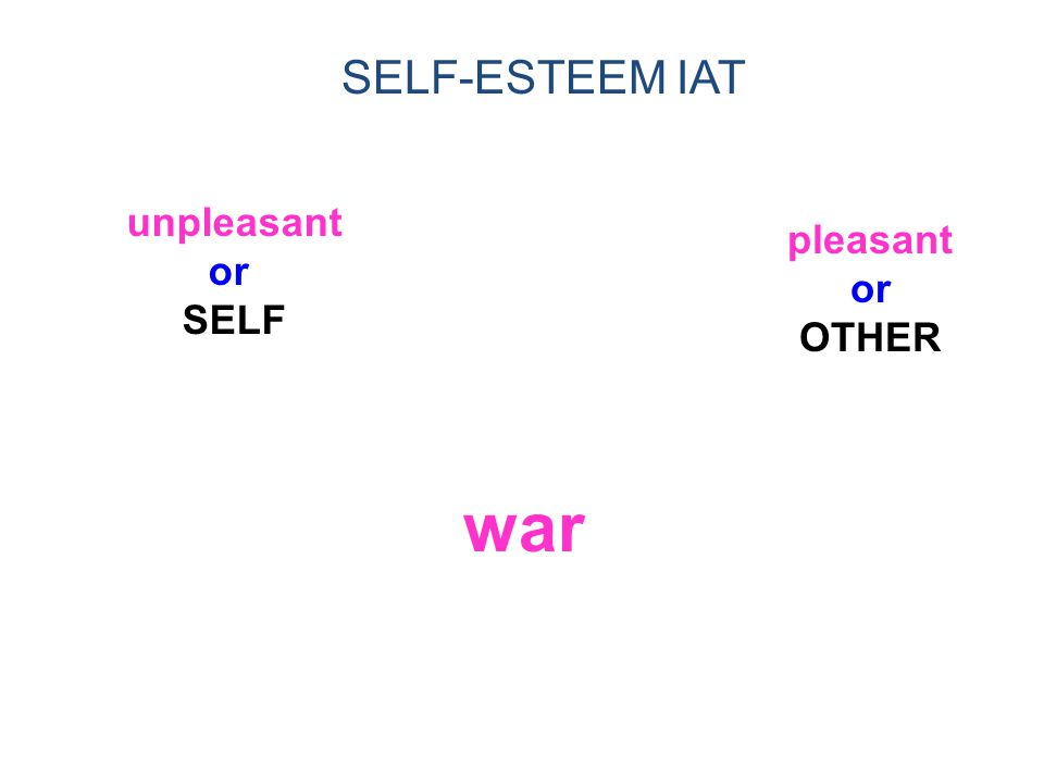 1/14/02 SELF-ESTEEM IAT unpleasant or SELF pleasant or OTHER war 34