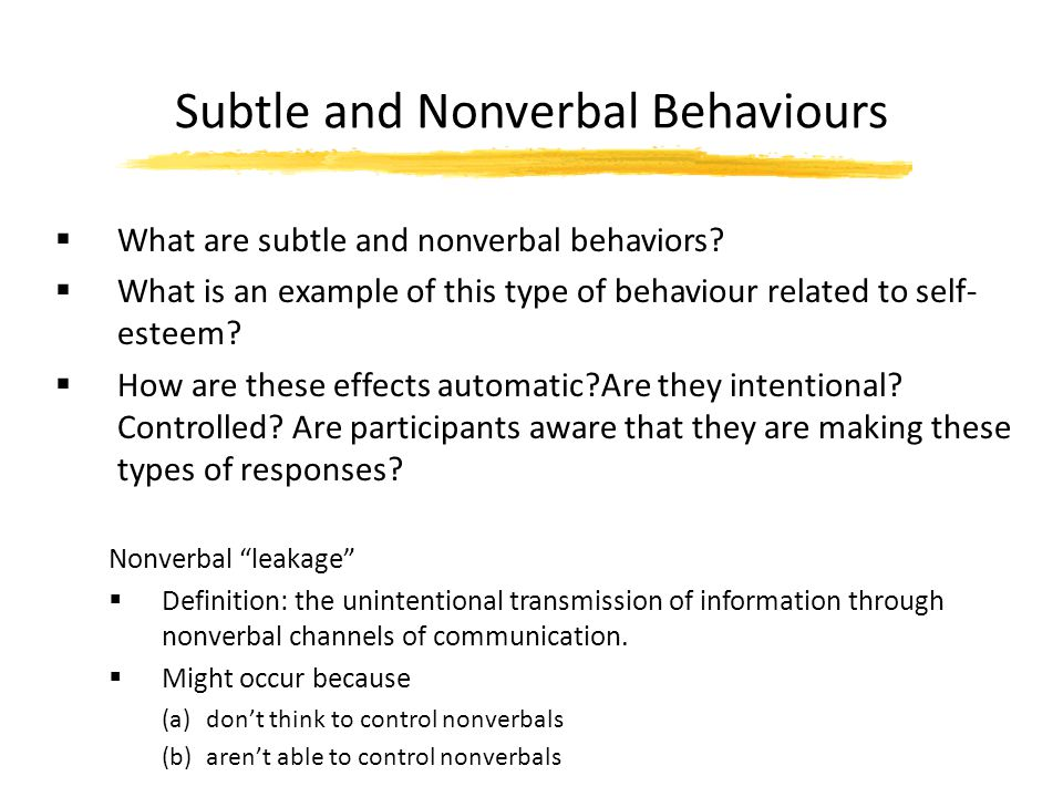 Subtle and Nonverbal Behaviours
