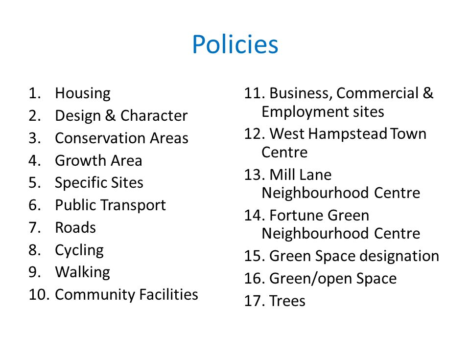 Policies Housing Design & Character Conservation Areas Growth Area