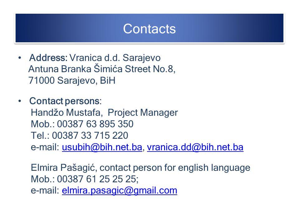 Contacts Address: Vranica d.d. Sarajevo