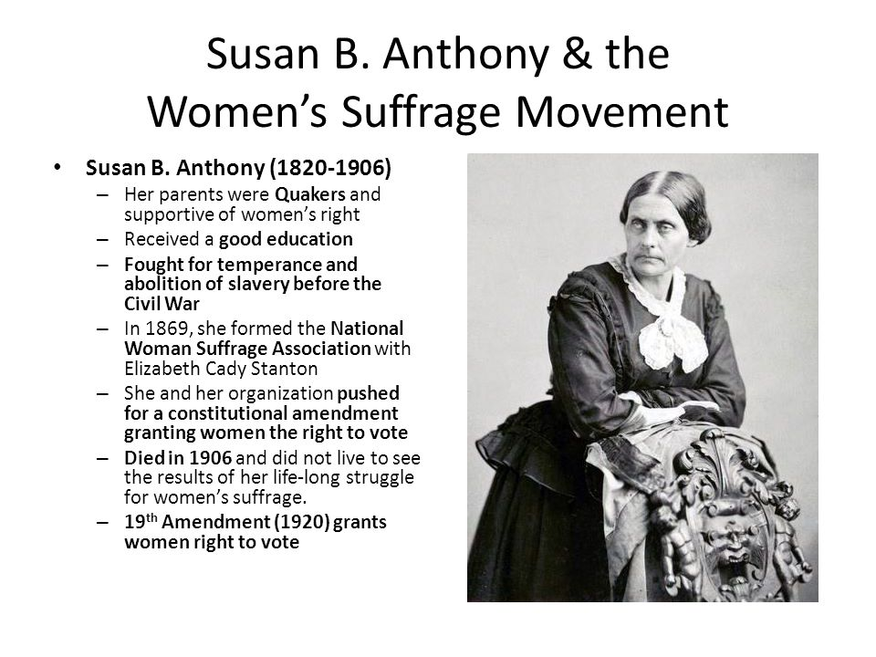 a biography of susan brownell anthony an american social reformer and feminist Related web site susan b anthony house susan brownell anthony many reformers wanted to focus on susan b anthony: a biography of a singular feminist.