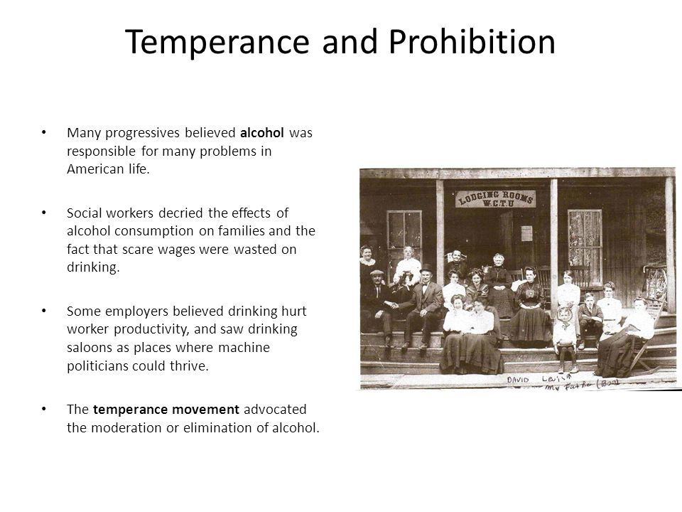 The impact of temperance groups in america