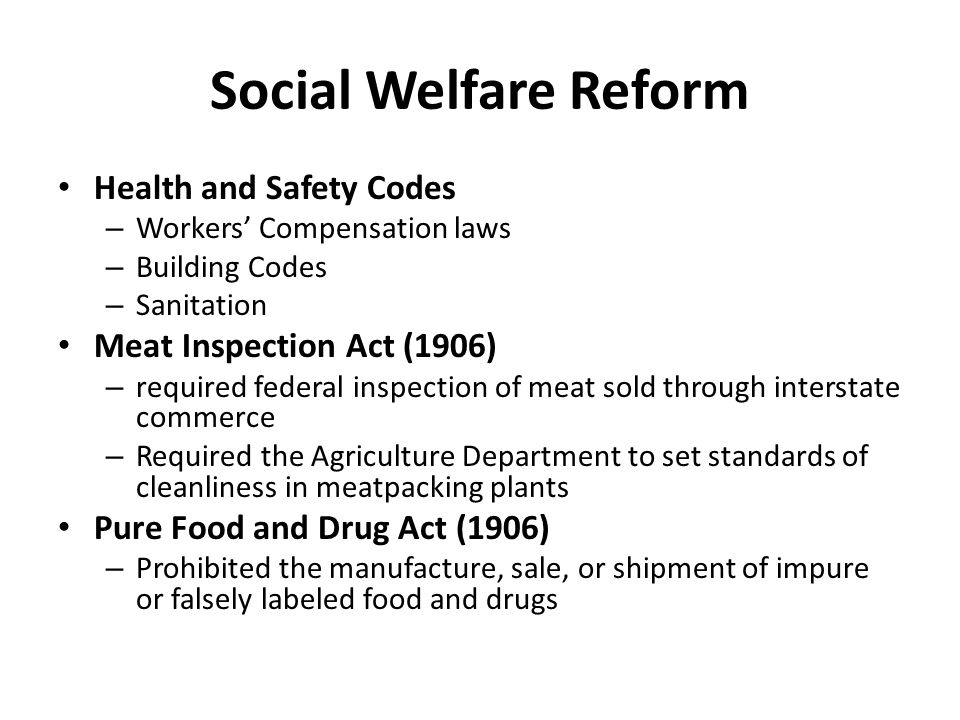 Social Welfare Reform Health and Safety Codes