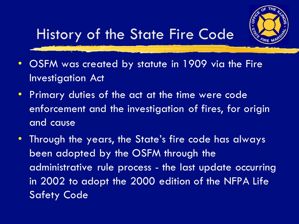 History of the State Fire Code