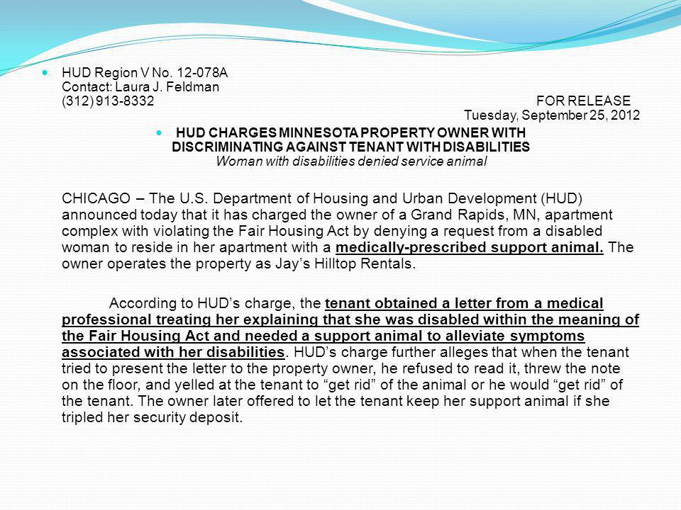 HUD Region V No. 12-078A Contact: Laura J. Feldman (312) 913-8332
