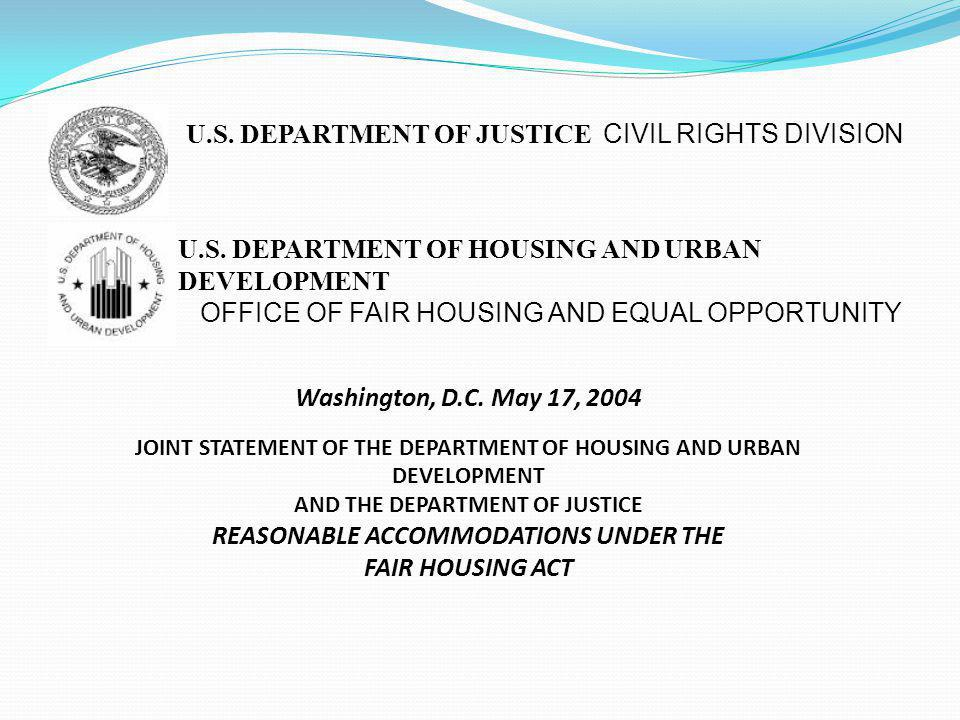 Washington, D.C. May 17, 2004 FAIR HOUSING ACT