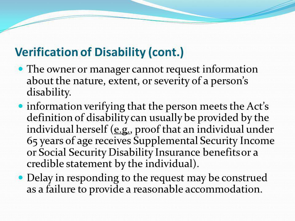 Verification of Disability (cont.)