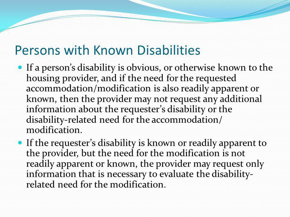 Persons with Known Disabilities