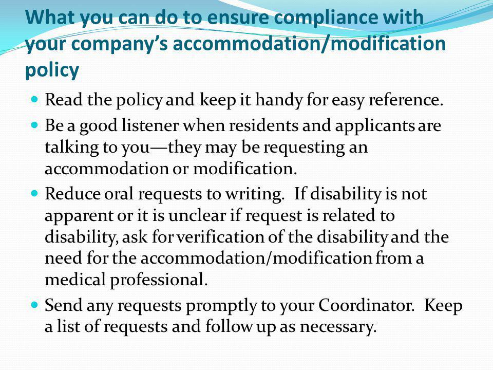 What you can do to ensure compliance with your company's accommodation/modification policy