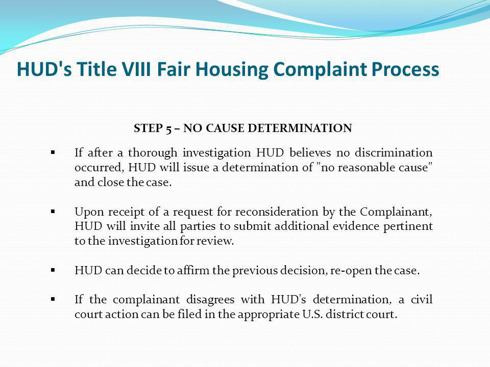HUD s Title VIII Fair Housing Complaint Process