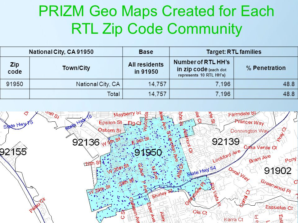 Number of RTL HH's in zip code (each dot represents 10 RTL HH's)