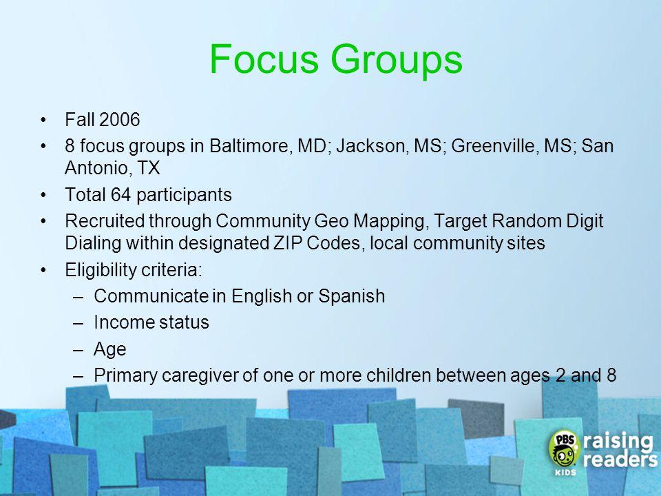 Focus Groups Fall 2006. 8 focus groups in Baltimore, MD; Jackson, MS; Greenville, MS; San Antonio, TX.