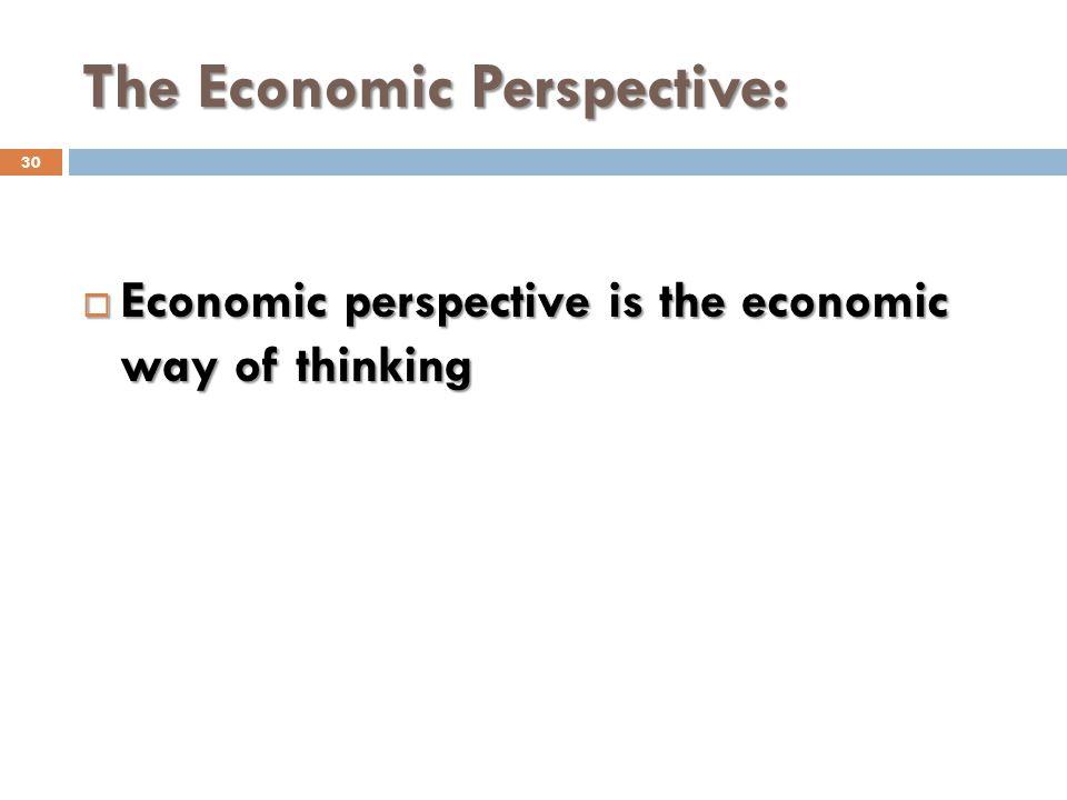 The Economic Perspective:
