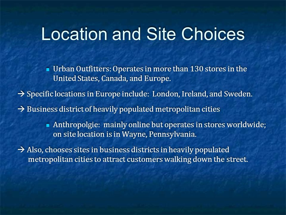 Location and Site Choices