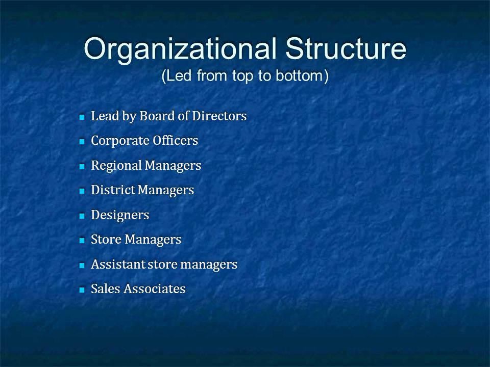 Organizational Structure (Led from top to bottom)