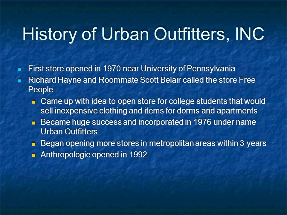 History of Urban Outfitters, INC