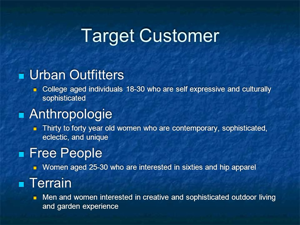 Target Customer Urban Outfitters Anthropologie Free People Terrain