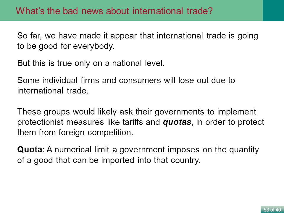What's the bad news about international trade