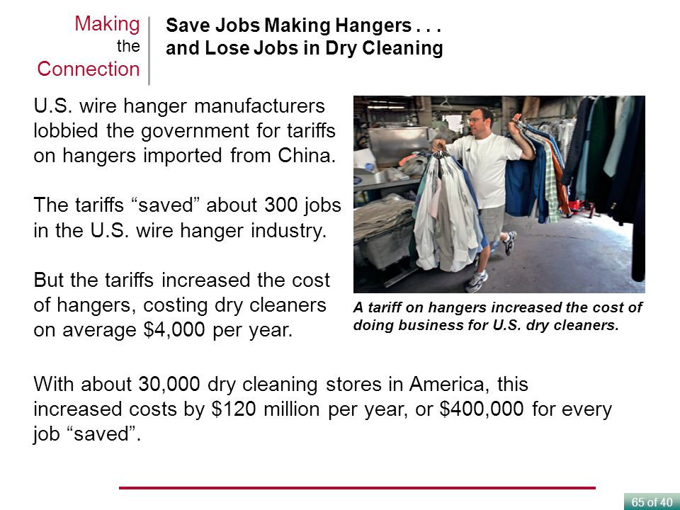 The tariffs saved about 300 jobs in the U.S. wire hanger industry.