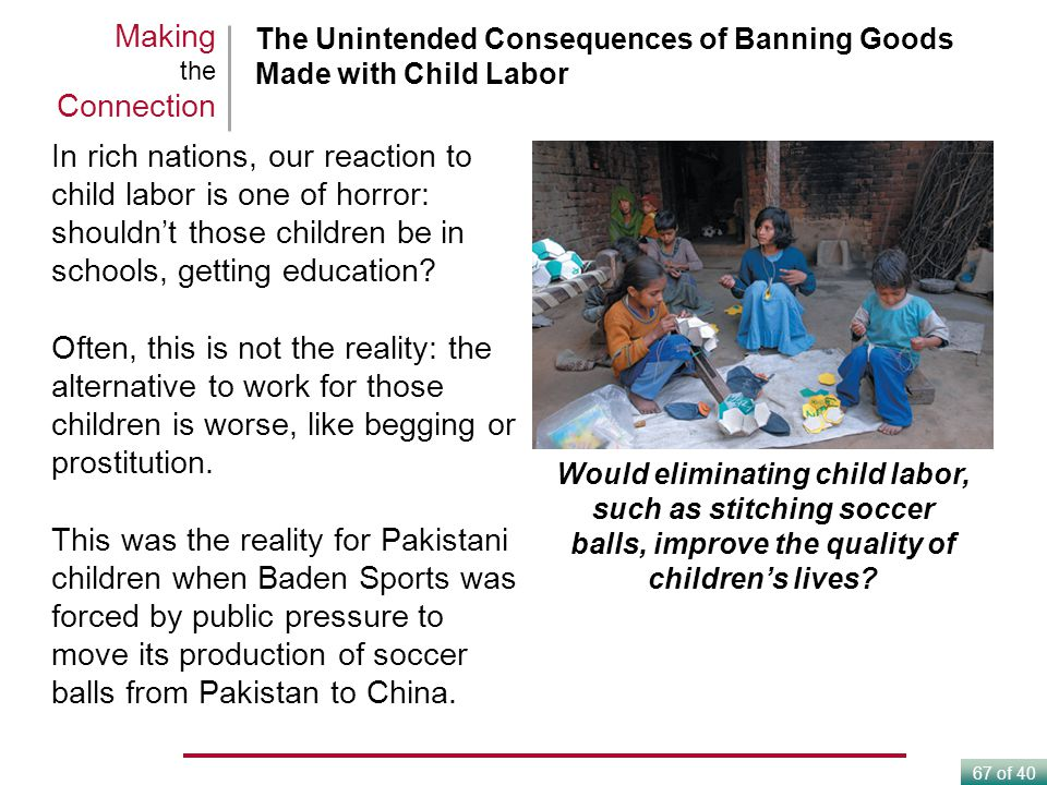 Making the Connection The Unintended Consequences of Banning Goods Made with Child Labor.