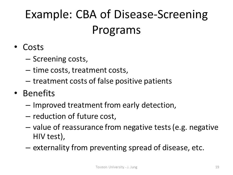 Example: CBA of Disease-Screening Programs