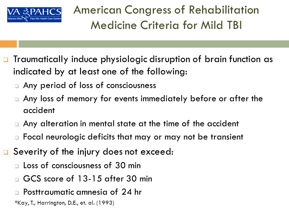 American Congress of Rehabilitation Medicine Criteria for Mild TBI
