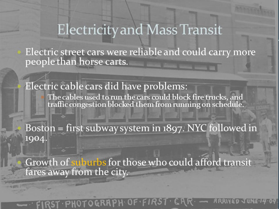 Electricity and Mass Transit