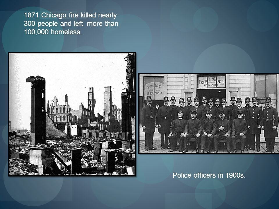 1871 Chicago fire killed nearly 300 people and left more than 100,000 homeless.