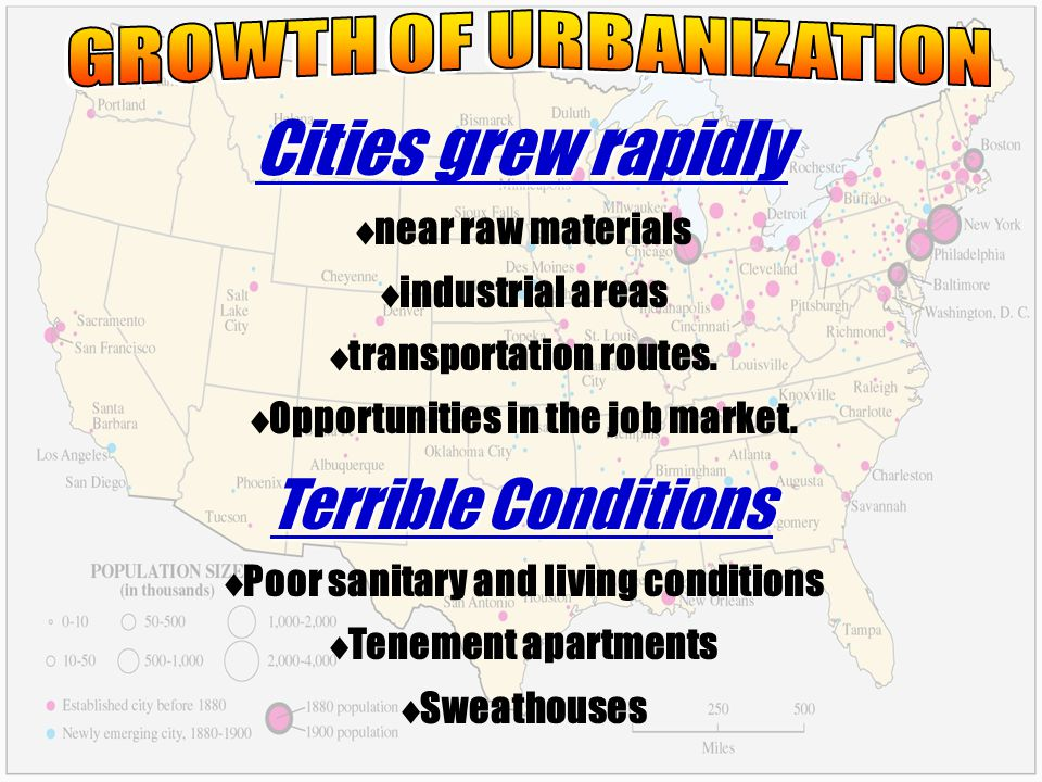 Cities grew rapidly Terrible Conditions GROWTH OF URBANIZATION