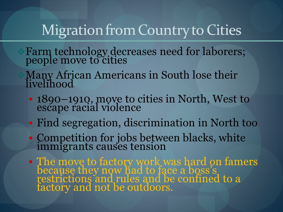 Migration from Country to Cities