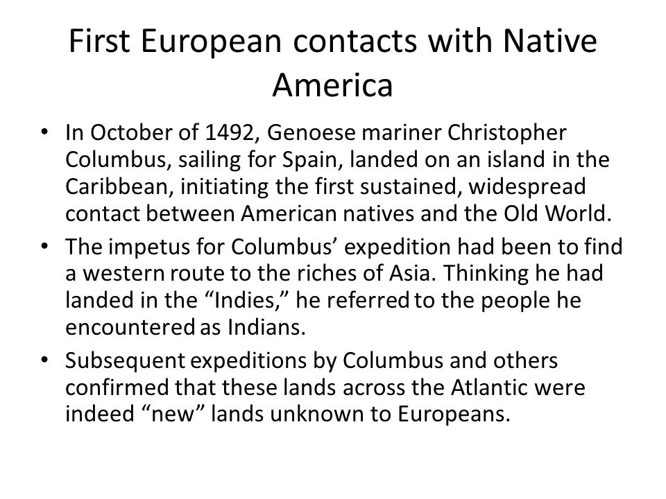 First European contacts with Native America