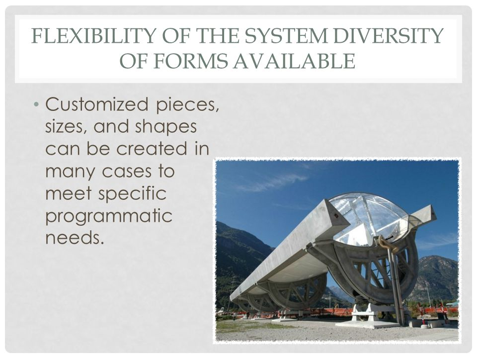 Flexibility of the System Diversity of forms Available
