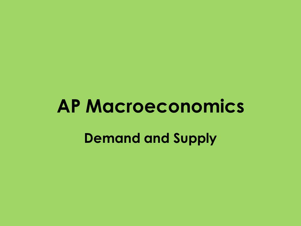 AP Macroeconomics Demand and Supply