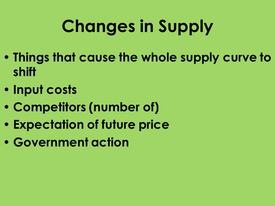 Changes in Supply Things that cause the whole supply curve to shift