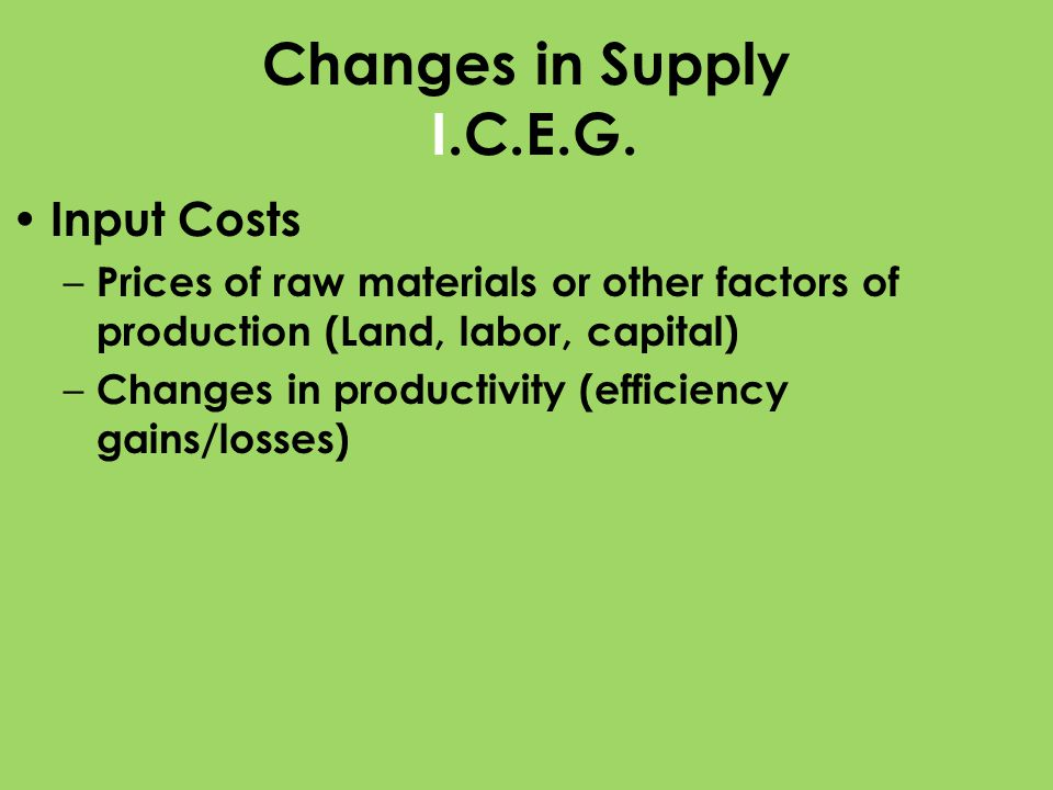 Changes in Supply I.C.E.G. Input Costs