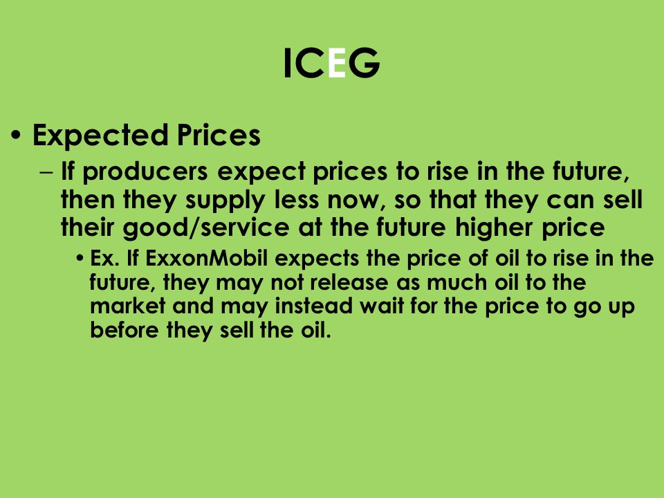 ICEG Expected Prices.